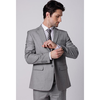 Classic Light Gray Men Tuxedos Notched Lapel Wedding Suits For Men Two Buttons Men Suits Slim Fit For Wedding Suit(Jacket+Pants)