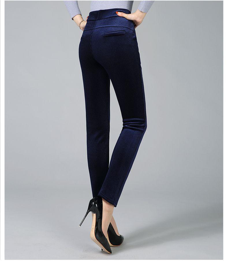 Women Elegant Striped Velvet Pants Slim Fit Corduroy Trousers Woman Red Green Black Blue Pant Bottoming Trouser Lady (11)