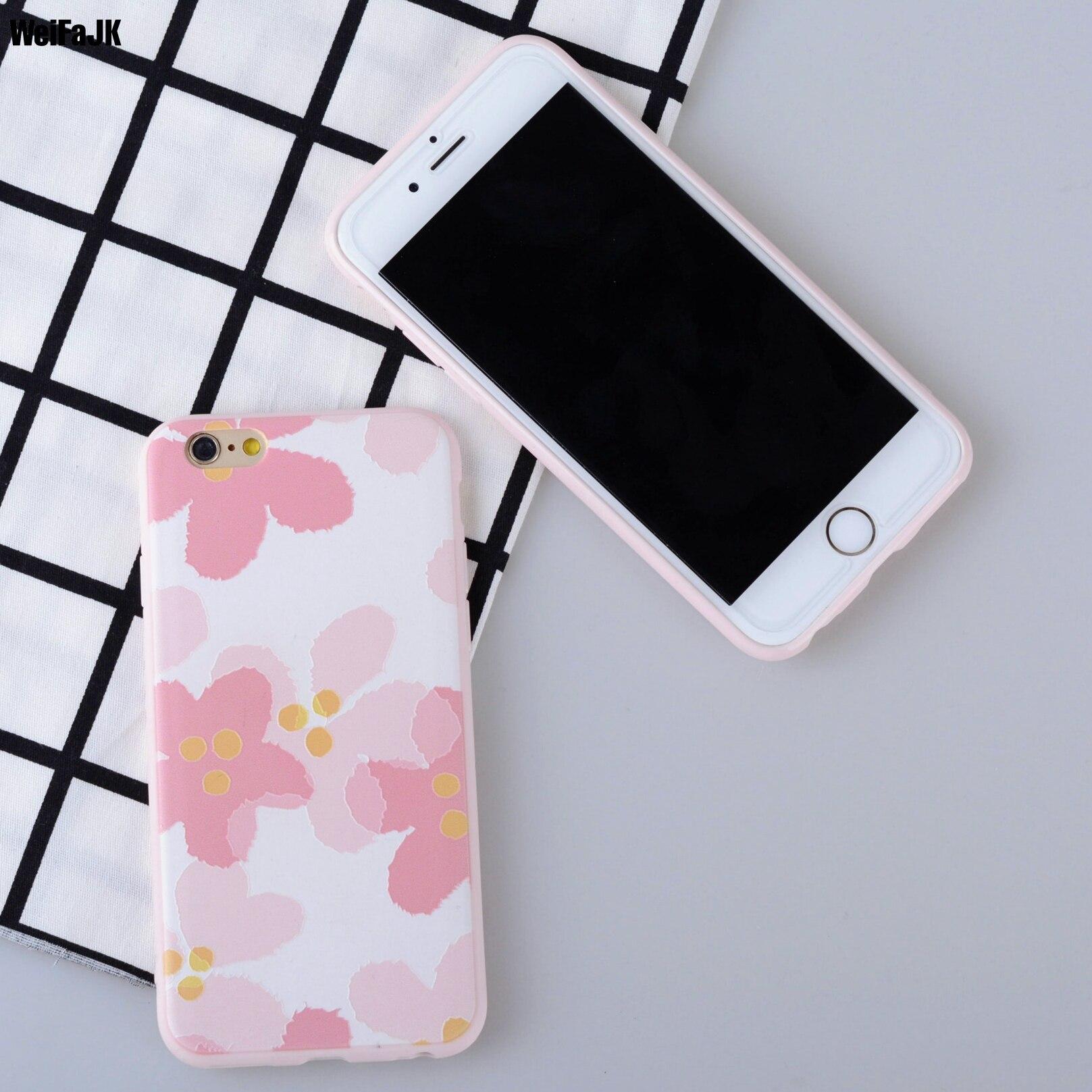 WeiFaJK Breve de Flores de Color Rosa Cereza Caso de TPU Para el iphone 7 Plus V