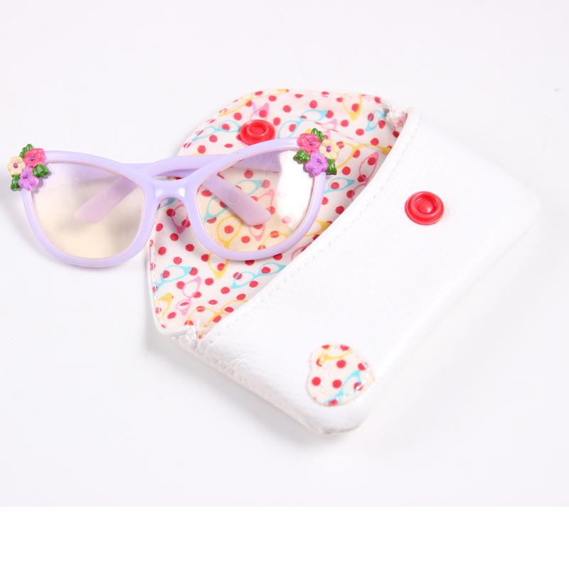 Doll Accessories Flower Sunglasses+ White Glasses Bag Suitable For 18 Inch American Girl Doll  AGN02 free shipping doll accessories 5 colors round shaped round glasses glasses sunglasses suitable for 18 inch american girl doll