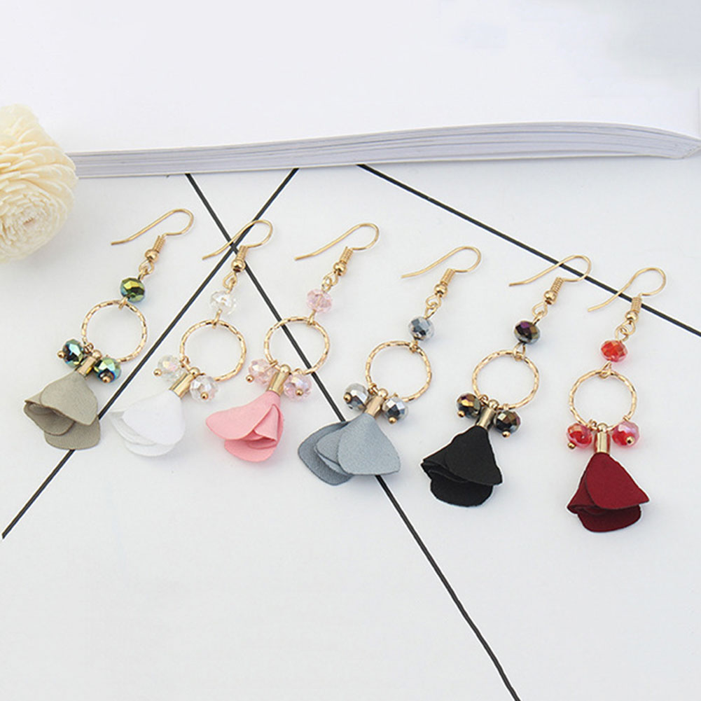 Long Section Of The Cloth Flowers Drop Earrings Beads Elegant Style Simple Jewelery Women 2017 New Fashion Gift
