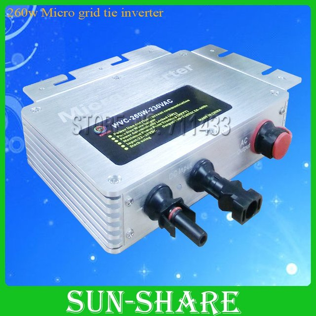 DHL free shipping !Reliable Performance, 260w micro grid tie inverter with T-connection (22VDC to 50VDC input) 3year warranty