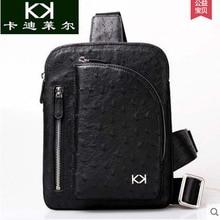 kadiler  Leather bag luxury male ostrich skin one shoulder inclined shoulder bag leisure men bag