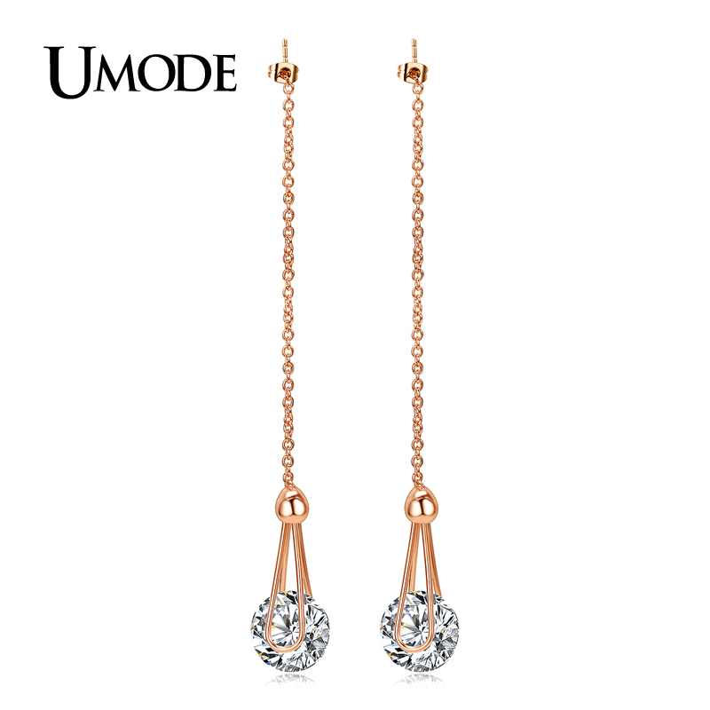 font b UMODE b font Brincos Rose Gold Rhodium plated 2ct AAA CZ Long Drop