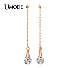 UMODE Brand Brincos Rose Gold Color 2ct AAA CZ Long Crystal Drop Earrings For Women Jewelry