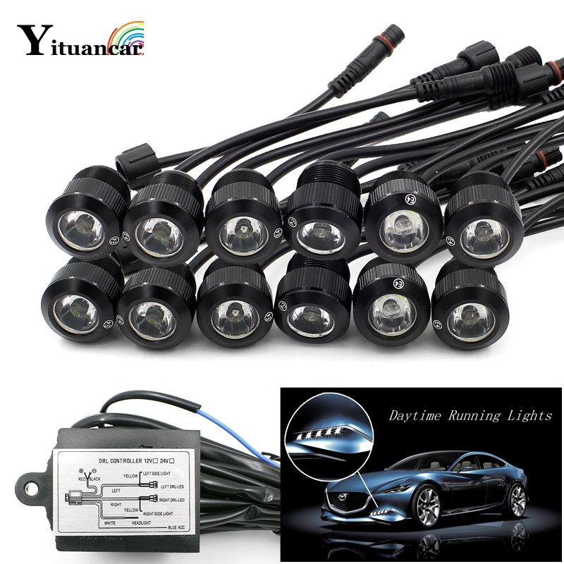 Yituancar 12Pcs/Set LED Car Styling Eagle Eye Daytime Running External Fog Lights DC12V White/Yellow Trun Signal Steering Lamps 7w led white light eagle eye car foglight backup daytime running lamp dc 12v