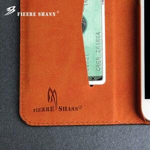 Image 5 - Fierre Shann inek derisi hakiki deri Flip Case iPhone X Xs 6 6s artı 7 8 artı Samsung için galaxy S8 S8 artı standı kapak