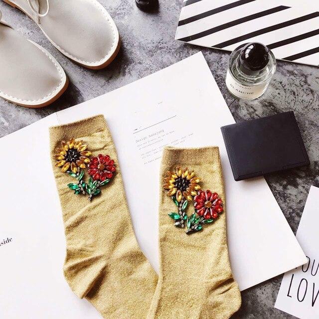 Women's Fashion Glitter Floral Korean Style Socks