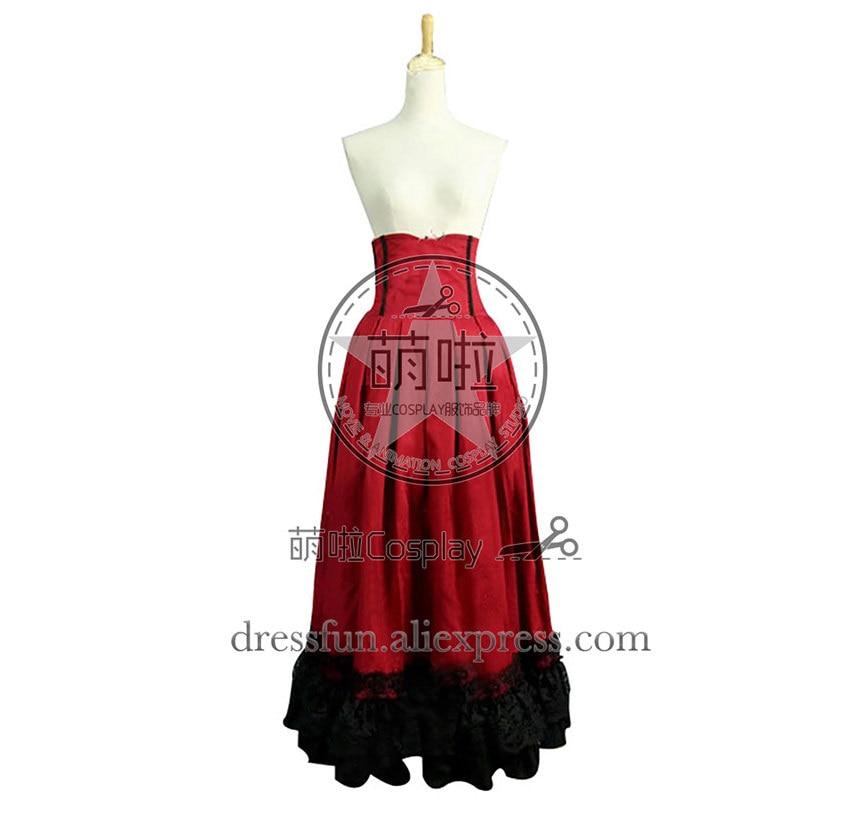 Victorian Lolita Edwardian Period Pleated Skirt Punk Lolita Dress Red Elegant Ruffles decorated Comfortable Costume Halloween