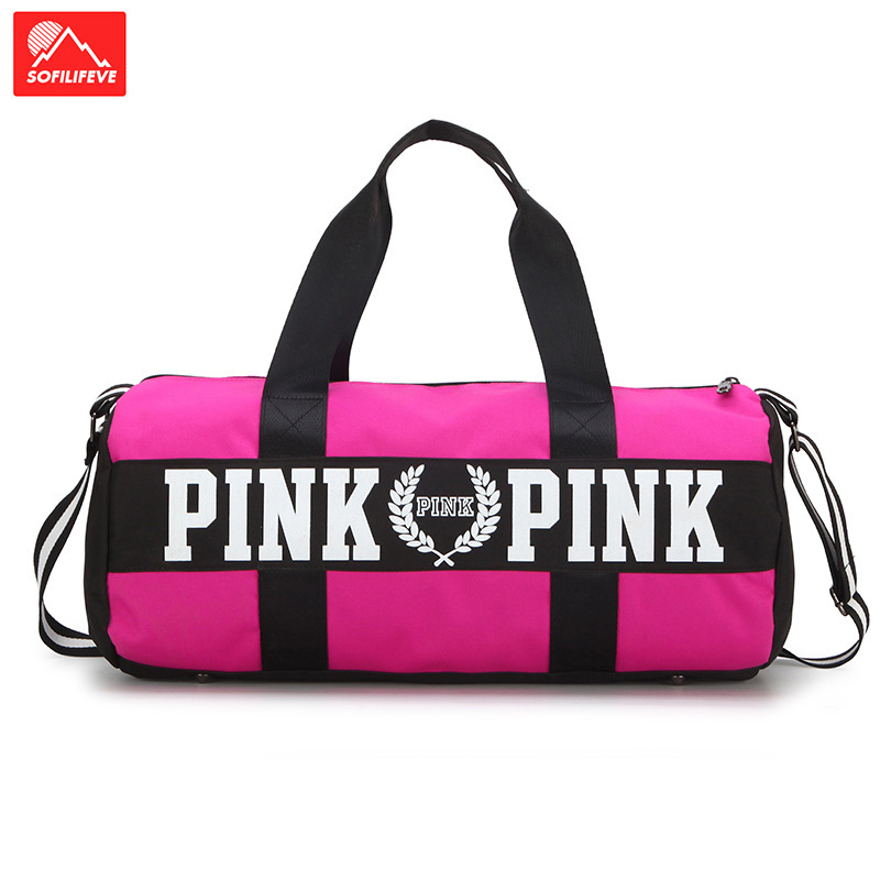 Pink Gym Bag Women Sports Training Sack Men Stylish Canvas Bags Big Fitness Shoulder Bag Travel Duffel Yoga Bags Unisex Handbag