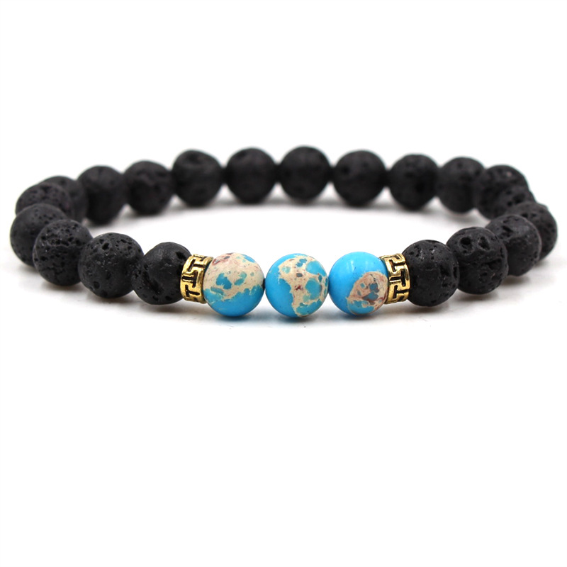 Lava Stone Beads Bracelet Classic Natural Stone Beaded Strand Three Ball Bracelets for Men Women Best Friend Hot Gifts