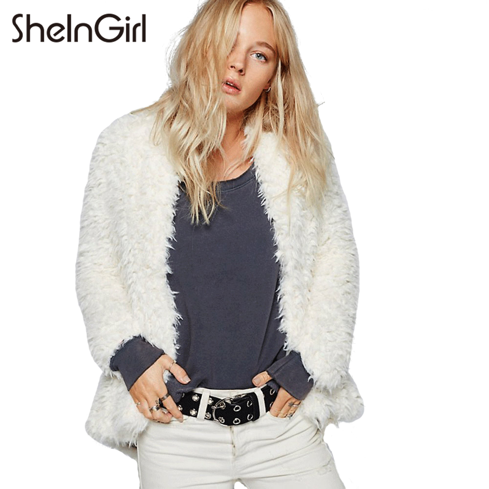 SheInGirl White Autumn Women Basic Parkas Jacket 2017 Soft Flare Faux Fur Plush Coat Comfort Warm Long Sleeve Streetwear Outwear