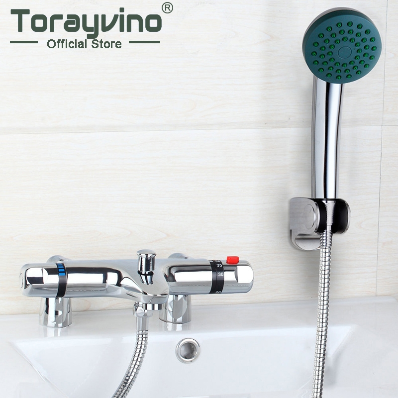 Bathroom Deck Mounted Thermostatic Shower Hand Spray Mixer Thermostatic Faucet Shower Chrome Finish Mixer Thermostatic Tap modern thermostatic shower mixer faucet wall mounted temperature control handheld tub shower faucet chrome finish