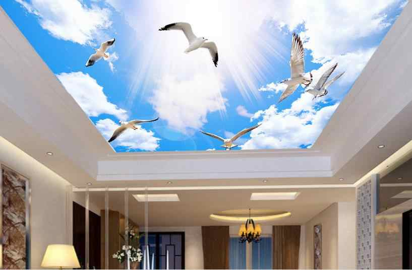 3d потолочные голубое небо и белые Настенные обои с видом облаков 3d фото обои Гостиная Спальня