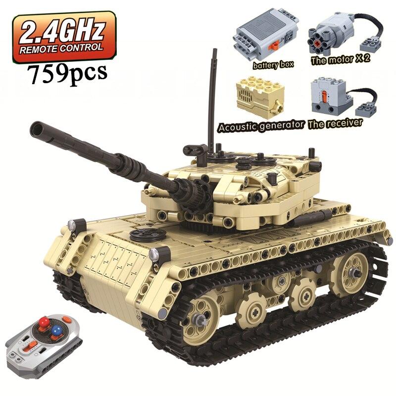 MOC العسكرية خزان التحكم عن بعد 2.4GHz تكنيك مع المحرك مربع 759 قطعة اللبنات الطوب الخالق لعب للأطفال-في حواجز من الألعاب والهوايات على  مجموعة 1