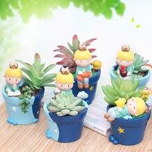 Cute Prince Succulent Planter Pots Resin Desktop Flower Pot Mini Bonsai Pot Little Boy Flowerpot Home Yard Garden Decoration