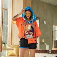 Summer Women's Hooded Sets Black O sweater sets one piece set Fahion Casual sportwear Hip hop thin waterproof Hoodies suits