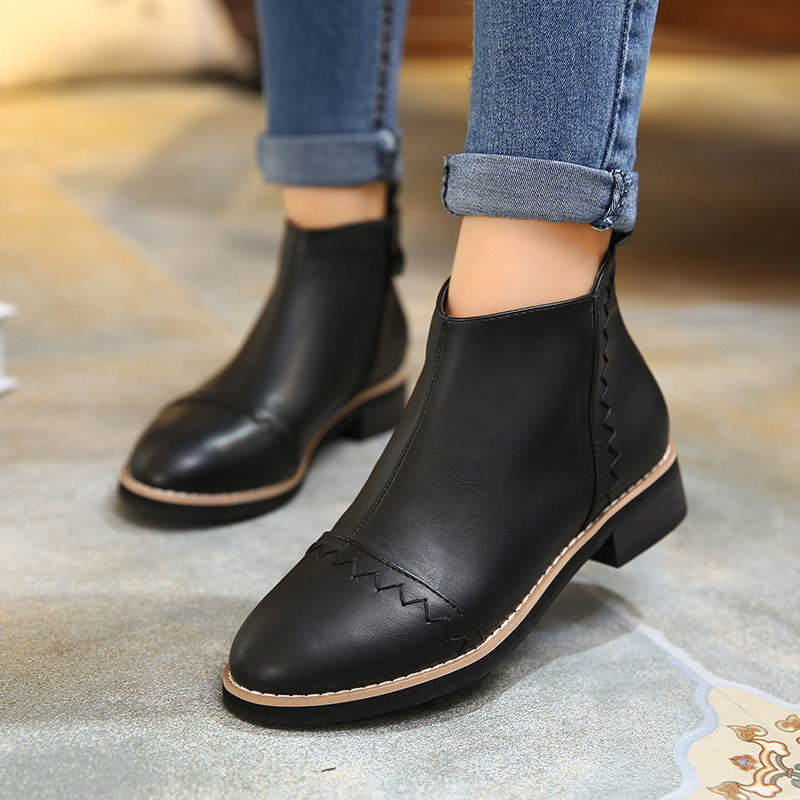 2017 New Shoes Woman Ankle Boots Autumn Winter Pattern Retro Short Boots First Layer Pigskin Flat