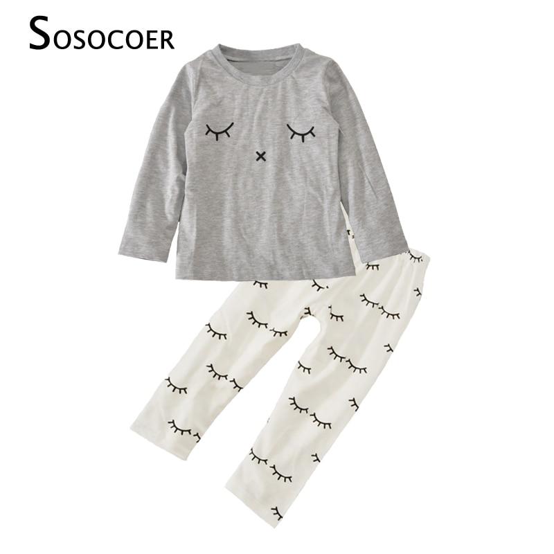 SOSOCOER Meisje Kleding Sets 2017 Merk Glimlach Gezicht T-shirt + - Babykleding