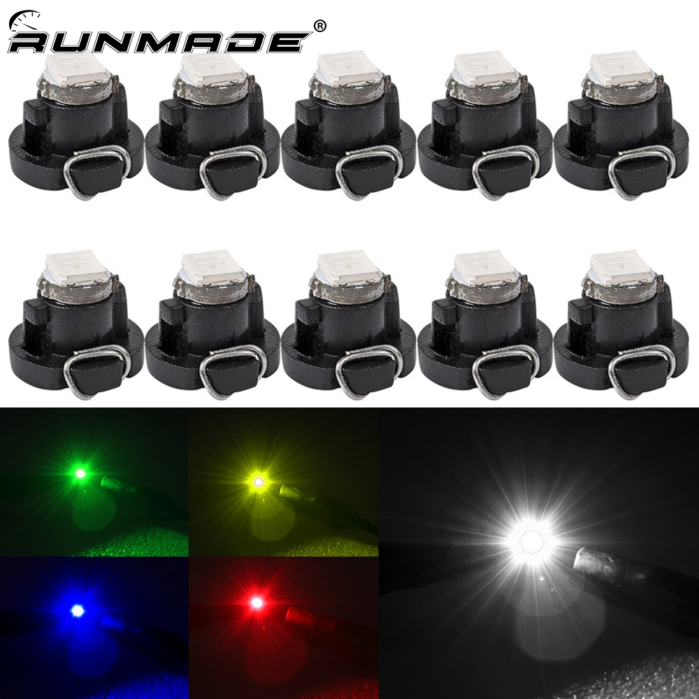 runmade 10pcs/lot <font><b>T3</b></font> LED 1SMD 3528 Car Cluster Gauges Dashboard Bulbs White Red Blue Green Yellow Instruments Panel Light Bulbs image
