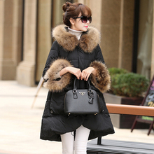 100% Real Raccoon Fur Collar 2016 Down Parka 90% White Duck Down Jacket Womens Winter Jackets And Coats For Winter Jacket Women
