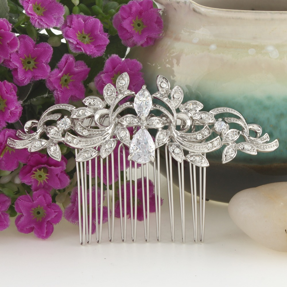 Bella Fashion Leaf Wave Teardrop Bridal Hair Comb Cubic Zircon Austrian Crystal Wedding Hair Piece Bridesmaid Women Hair Jewelry