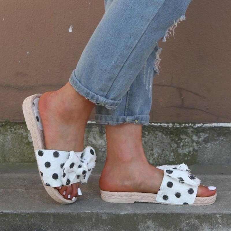Laamei/2019 г.; милые женские шлепанцы с бантом; сандалии на плоской подошве; тканые льняные повседневные туфли; женские пляжные шлепанцы с открытым носком; большие размеры