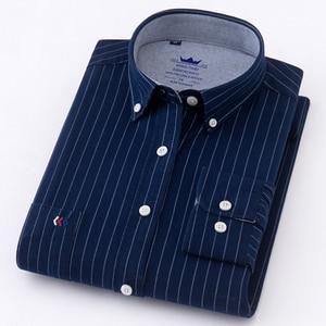 Image 5 - Mens Oxford 100% Cotton Fashion Stripe Casual Long Sleeve Shirts Retro Style High Quality Design Mens Dress Shirts Blouse