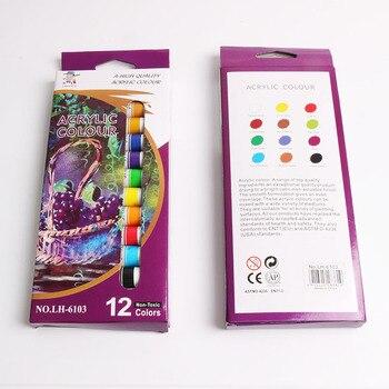 Wasserdicht 12 Farben 12 ML/Rohr Acrylfarbe Set Farbe Nagel Kunst Malerei Farbe Für Stoff Zeichnung Werkzeuge Kinder DIY