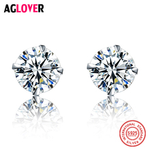 925 Sterling Silver Mini Earrings Small Four Claw Simple Crystal Zircon Fashion Woman Gift