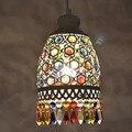 Богемный Средиземноморский ретро многоцветный Бронзовый подвесной светильник из кованого железа лампа для спальни ресторана