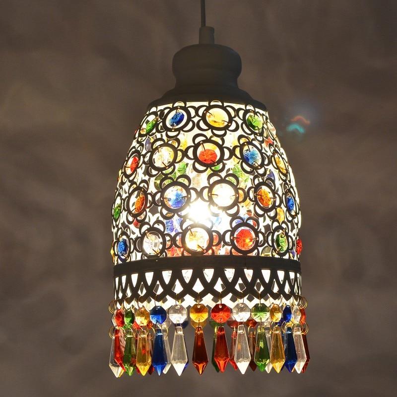 Bohemia Mediterranean retro multicolor bronze wrought iron pendant lamp restaurant bedroom lamp