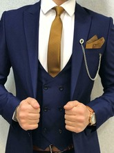 Royal Blue Mens Suits Tuxedos Business 3 Pieces Double Breasted Vest Custom New