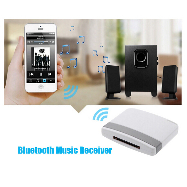 Hot selling Stereo Sound Chip A2DP Bluetooth V2.0 Audio Music Receiver Adapter for iPad iPod iPhone 30Pin Dock