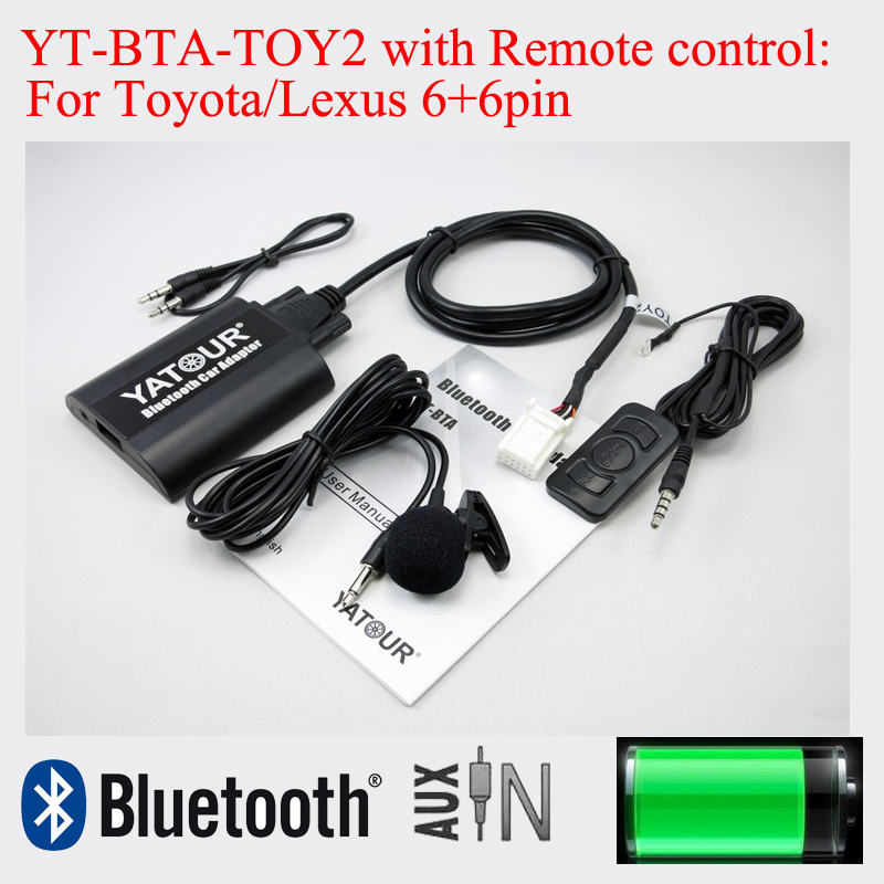Bluetooth adapter YT-BTA with Remote control for Toyota Camry Corolla Vitz Lexus Scion 6+6pin radios цена