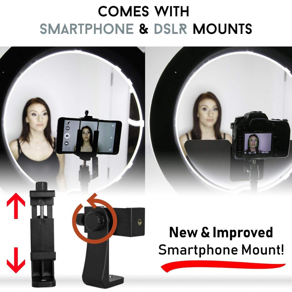 JINTU 18″ LED Video Ring Light with Mirror + Bluetooth Remote +Tripod for DSLR & iPhone & Android Smartphone Makeup Youtube