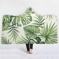 mylb Flamingo Hooded Blanket Tropical Sherpa Fleece Wearable Blanket Floral Kids Adults Throw Blanket Home Textiles