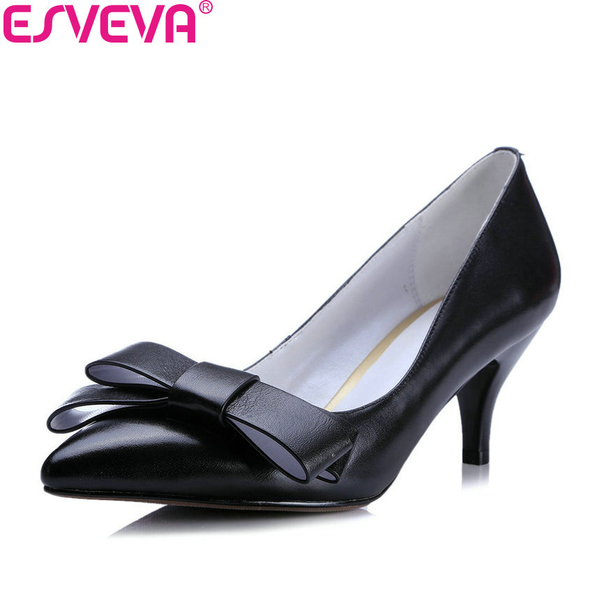 ESVEVA 2018 Women Pumps Spring and Autumn Cow Leather PU Slip on Thin High Heels Pointed Toe Party Ladies Pumps Shoes Size 34-39 ladies real leather high heels pumps pointed toe sexy thin high heeled shoes women shine wedding party footwears size 34 39