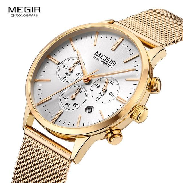 ac16edfadf8 Megir Women s Chronograph Luminous Hands Date Leather   Stainless Steel  Mesh Quartz Wrist Watches Lady Rose