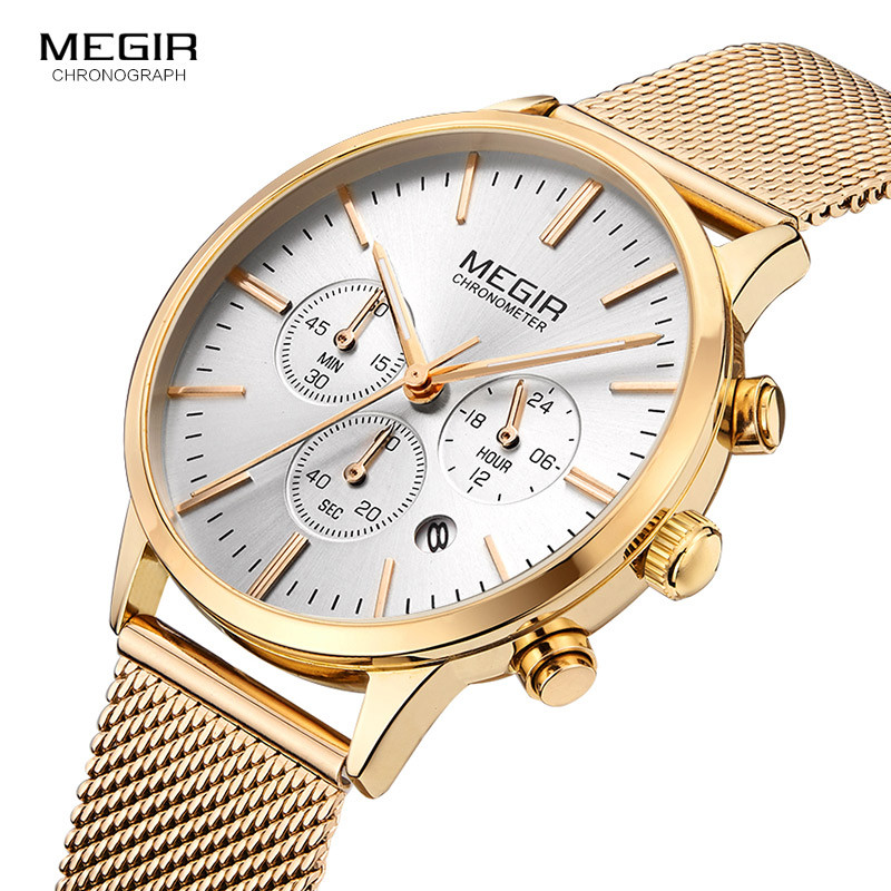 Megir Women's Chronograph Luminous Hands Date Leather & Stainless Steel Mesh Quartz Wrist Watches Lady Rose Gold Clock Female