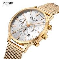 Megir Women S Chronograph Luminous Hands Date Leather Stainless Steel Mesh Quartz Wrist Watches Lady Rose