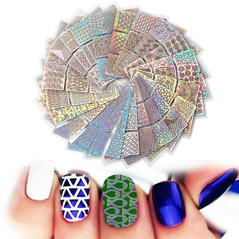 24 Sheet/sets DIY Nail Vinyls 24 different style Hollow Irregular Stencils Stamp Nail Art tool DIY Manicure Sticker Laser Silver 3 designs in 1 sheet laser vinyls nail hollow sticker gold grid irregular patterns tips tool for nail art stencil manicure sa350