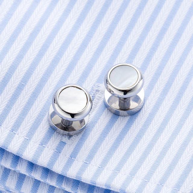 Vagula Mother Pearl Shirt Collar Studs Aaa Sea Shell Button Silver 206