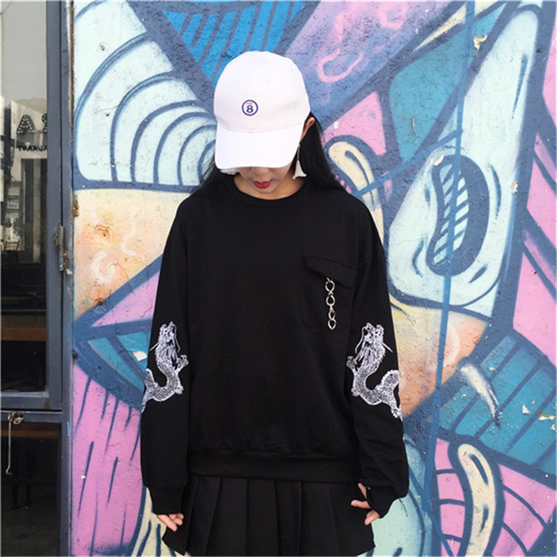 Women Autumn Spring Fashion Korean New Style Ulzzang Dragon Embroid Loose Hoodie Comfortable Arbitrary Combination Black