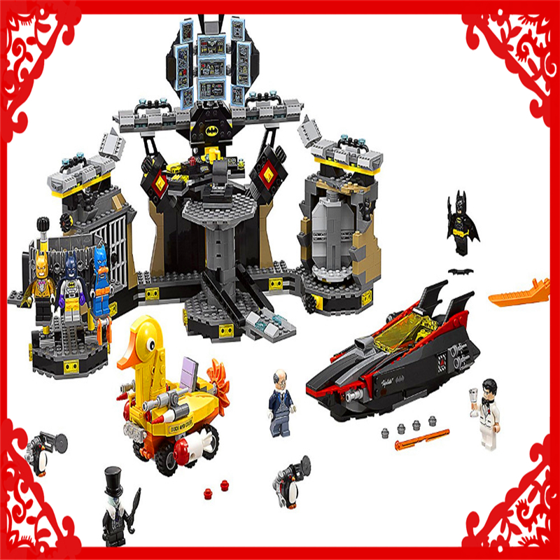 LEPIN 07052 Batman Series Batcave Break-in Building Block 1047Pcs DIY Educational  Toys For Children Compatible Legoe decool 7118 batman chariot super heroes of justice building block 518pcs diy educational toys for children compatible legoe