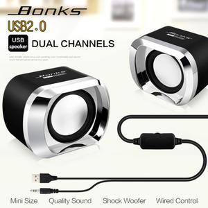 Image 5 - Bonks DX12 Mini taşınabilir USB2.0 Subwoofer küçük hoparlör 3.5mm ses fişi ve USB priz için masaüstü bilgisayar dizüstü bilgisayar MP3 telefon