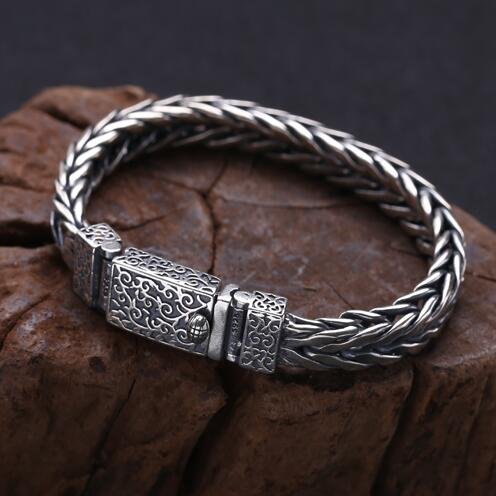 Handcrafted 925 Silver Chain Bracelet Thai Silver Man Bracelet Vintage Sterling Chain Bracelet Punk Jewelry Gift