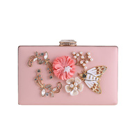 Elegant Women Crystal Pearl Beading 3D Flower Butterfly Small Day Clutches Delicate Chain Evening Bags Chic Handbags and Purses