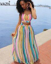 VAZN Hot Fashionable Popular 2018 Women Elegant Maxi Dress Strapless  Sleeveless Rainbow Striped Chiffon Summer Vestido 666d55e75664