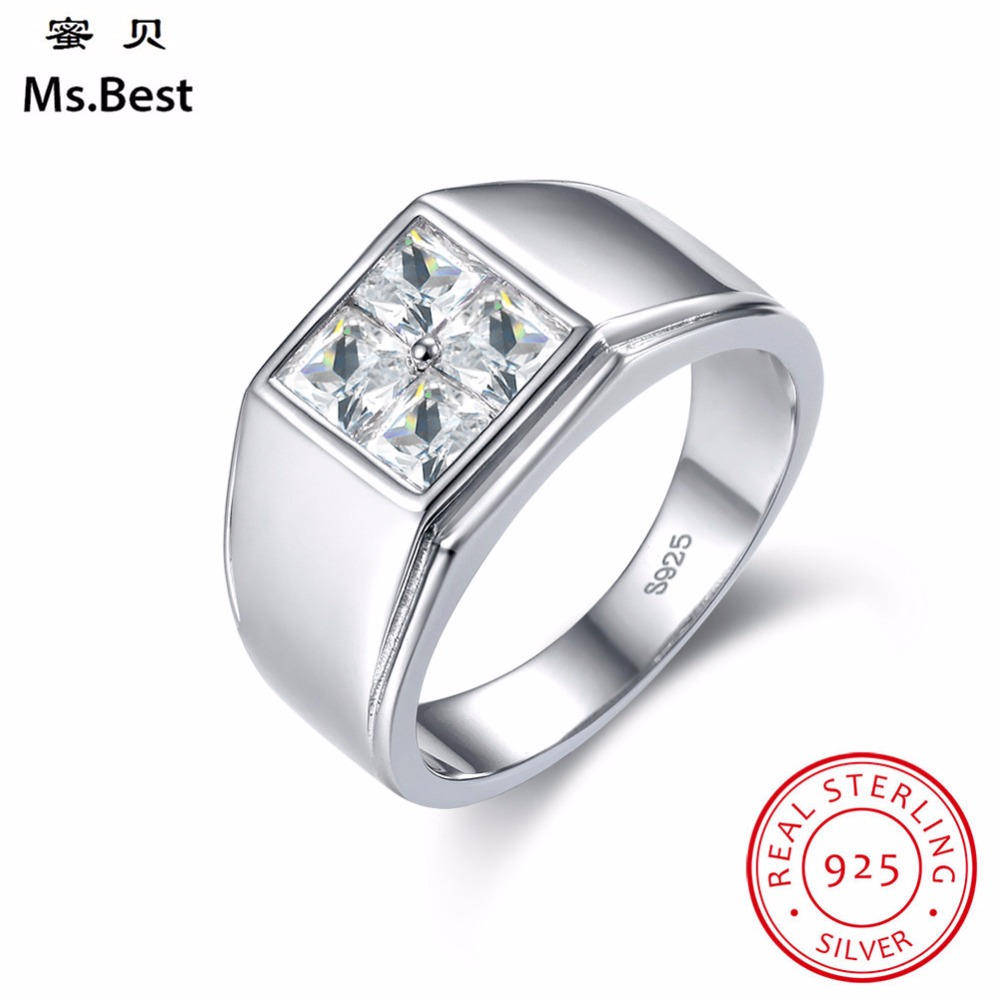 Fine White Gold Coated Solid 925 Sterling Silver Men Ring wedding band Diamond Cut Zircon Father Day Gift for DAD or boy Friends titanium ring